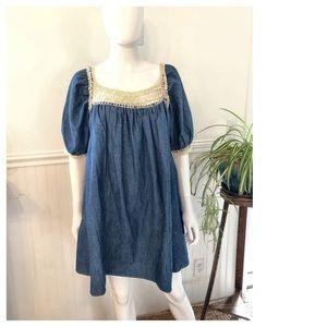 Carolina K/ Free People Denim Crochet Boho Dress M